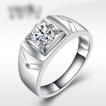Plated white gold atmosphere men's single ring Nanjie