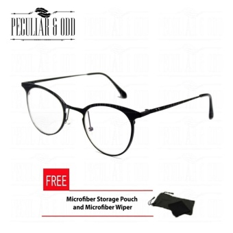 Premium Round Eyeglass J1820 _Black w/ Multi Coated lens and Aircraft Aluminum-magnesium Alloy Replaceable Lens Unisex Eyewear