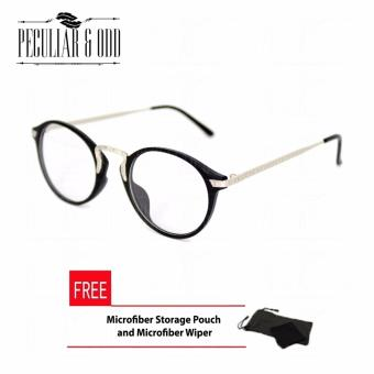 Premium Round Optical Eyeglass 3018_BlackSilver in Aircraft Aluminum-magnesium Alloy with Replaceable Lens Unisex Eyewear