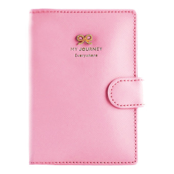 PU Leather Anti Demagnetization Travel Journey Passport ID CardHolder Case Cover Purse Organizer Pink