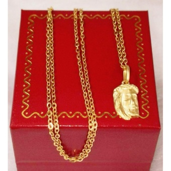 Pure 100% Saudi Gold Necklace with Holy Jesus Pendant