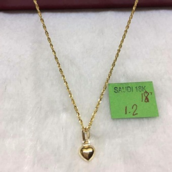 Pure Saudi Gold 18K Necklace Heart Pendant 1.2g