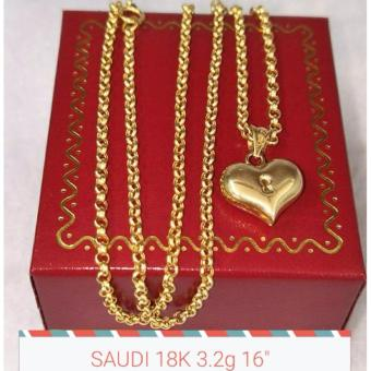 Pure Saudi Gold 18K Necklace with Heart Pendant 3.2g
