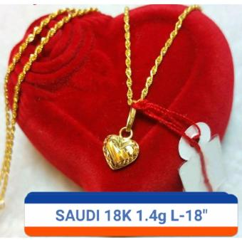 Pure Saudi Gold 18K Necklace with Pendant 1.4g