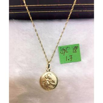 Pure Saudi Gold 18K Necklace with Pendant Mary/Jesus 1.7g