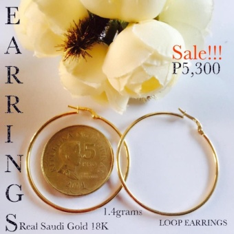 Pure Saudi Gold 18K Real Gold Hoop Loop Real Gold Stud EarringsPawnable Christhas Collection Online Boutique Shoppe