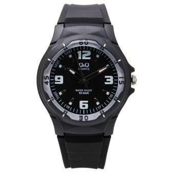 Q&Q by Citizen, QQ VP58J005Y Black Rubber Strap White Markings Luminous Hands, Analog 100-Meter Water Resistant Men's and Women's Watch
