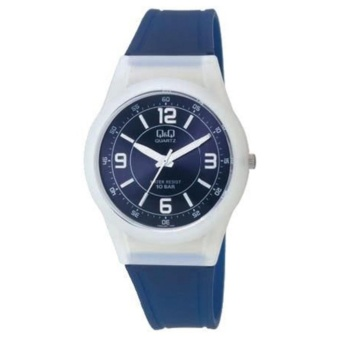 Q&Q by Citizen, QQ VQ50J007Y Navy Blue Rubber Strap White Case Navy Blue Dial White Markings, Analog 100-Meter Water Resistant Men's and Women's Watch