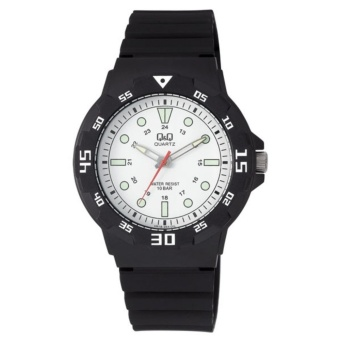 Q&Q by Citizen, QQ VR18J004Y Black Rubber Strap White Dial Luminous Hands, Analog 100-Meter Water Resistant Men's and Women's Watch