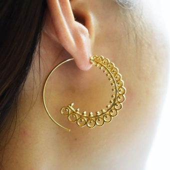 Retro Boho Bohemian Round Carving Spiral Circle Stud Earrings Lady Ear Jewelry Gift Accessories 1 Pair - intl