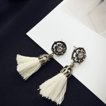 Retro elegant crystal earrings tassled stud