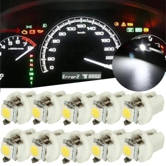 RHS 10PCS T5 B8.5D Car Gauge 5050 1SMD LED Speedo Dashboard DashSide Light Bulb 12V(White) - intl