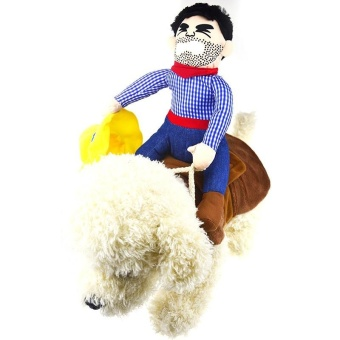 Riding Horse Dog Costume with Cowboy Hat for Small Dog Large DogPet Cat Funny - Coffee L - intl