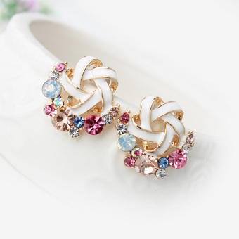 S925 Jianyue cream female elegant sterling silver earrings Korean stud