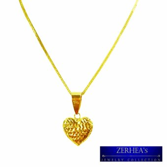 Saudi Gold 18K Womens Necklace with Heart Pendant (Yellow Gold )
