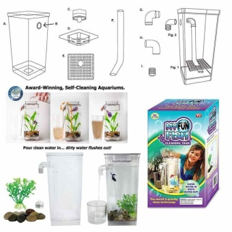 Self Cleaning Pet Fish Tank My Fun Fish Aquarium Small Fish Tankfor children - intl