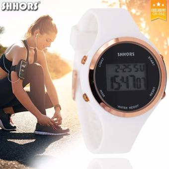 Shhors 0272 Women' Fashion Digital Silicone Strap Electronic Watch White