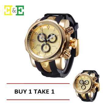 SHHORS 80085 Men Silicone Strap Quartz Sports Watch (Gold ) BUY ONE TAKE ONE