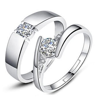 Silver Adjustable Couple Rings Jewelry Affectionate Lovers Rings E007 Price Philippines