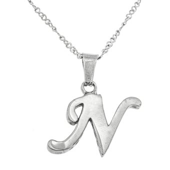 Silverworks X1965 Letter N Pendant Necklace