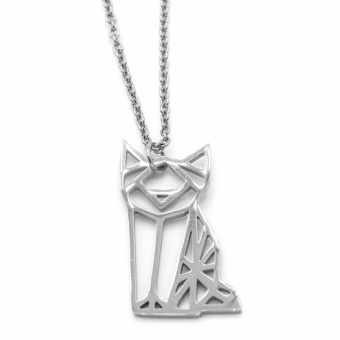 Silverworks X3649 Origami Cat Design Necklace