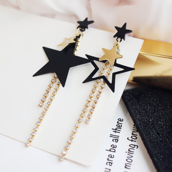 Simple tassled elegant stud geometric earrings