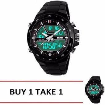 Skmei 1016 Casual Men Digital Quartz Sports Watch (Black) Buy1 Take1