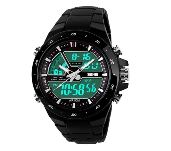 SKMEI AD1016 Digital Multi-function Men Rubber Watch (Black)