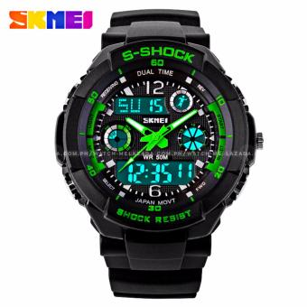 SKMEI S-Shock Men's Military Sport Full Feature Dual Time Rubber Strap Watch