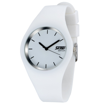 SKMEI Unisex Lovers Waterproof Silicone Strap Wrist Watch -White9068 Price Philippines