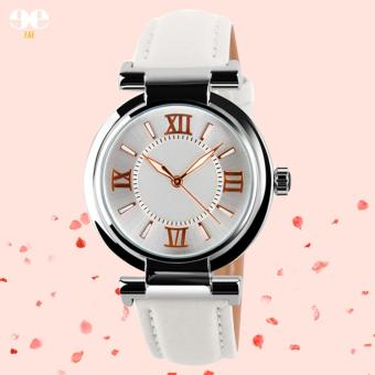 SKMEI Women's Leather Strap Quartz Watch (White) Price Philippines