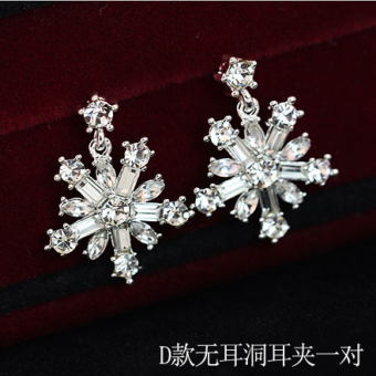 Snow Korean-style bride clip-on fake stud earrings