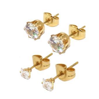 Stainless Steel Cubic Zirkonia Stones Stud Earrings Set Of 2