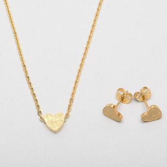Stainless Steel Frosted Heart Necklace And Earrings Set Gold