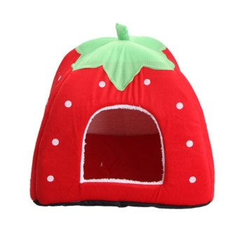 Strawberry Pet Dog Cat Bed House Kennel Doggy Puppy BasketPad(Red_L) - intl