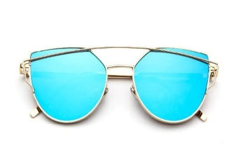 Sunglasses Women Fashion Summer Style Sun glasses for Women Designer Twin-Beams Shades(Gold frame Blue mirror) - intl