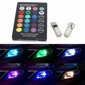 T10 sillicone Car Park light LED bulbs with RemoteControl(Multicolor)
