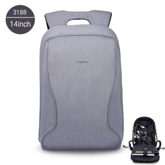 Tigernu Brand Fashion Business Casual Anti-Theft Backpack 14 Inches Laptop BagsT-B3188 (Silver grey)