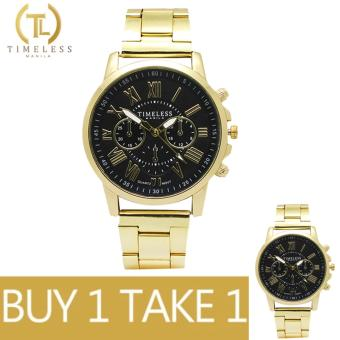 Timeless Manila Candice Roman Numeral Chrono Metal Watch Buy 1 Take 1 (Black)