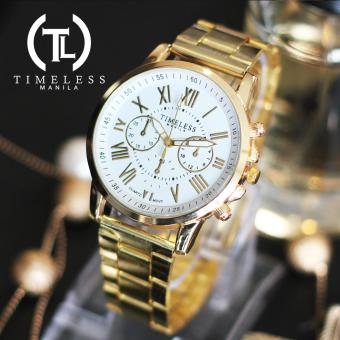 Timeless Manila Candice Roman Numeral Chrono Metal Watch (White)