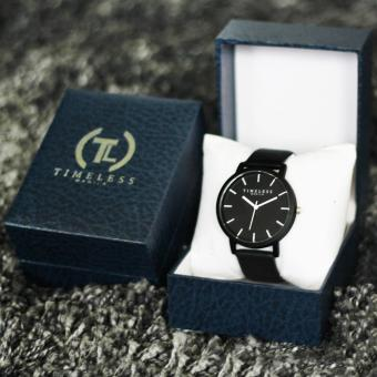 Timeless Manila Jules Linear Leather Watch (Black) with Free Timeless Manila Watch Box