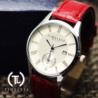 Timeless Manila Justine Roman Numeral Datejust Leather Watch (Red)