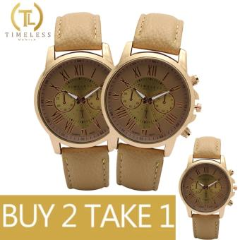 Timeless Manila Kathy Roman Numeral Leather Watch Buy 2 Take 1 (Beige)