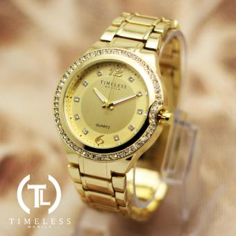 Timeless Manila Patricia Crystal Studded Metal Watch (Gold)