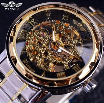 Transparent Gold Watch Men Watches Luxury Relogio Male Clock Men Casual Watch Montre Homme Mechanical Skeleton Watch - intl