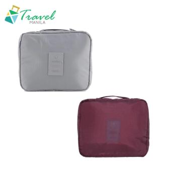 Travel Manila Toiletry Pouch Bag Bundle (Maroon and Grey)