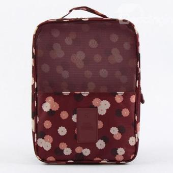 Travel Shoes Organizer Storage Bag Three Layers Waterproof(DaisyRed)