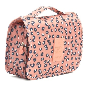 Travel Toiletry Make Up Cosmetic Bags (Leopard) with Free PortableMini USB Fan (COLOR MAY VARY)