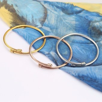Triple 3 Titanium Steel Cable Wire Cuff Twisted Bangle Bracelet (Silver/Gold /Rose