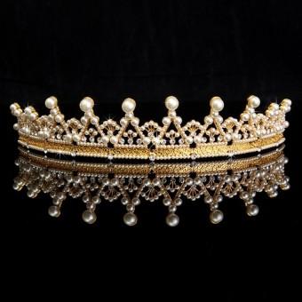 TwinkleStar Elegant Pearls Crystal Rhinestone Wedding Tiara Crown Prom Pegeant Headband Gold - intl .